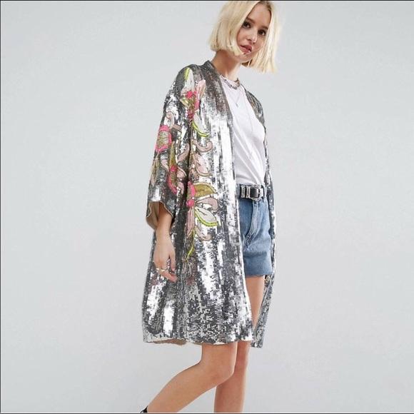 273dea985fcf ASOS Jackets & Coats | Sequin Kimono Jacket | Poshmark